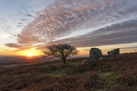 Sunrise with beautiful sky at Caradon hill, Cornwall, UK