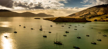 Flotilla of sailing yachts moored in he calm waters of Governors Bay in Banks Peninsula Stock Photo