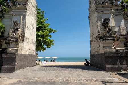 the massive carded Hindu gates marking the entrance from the town to the beach at Kuta Bali