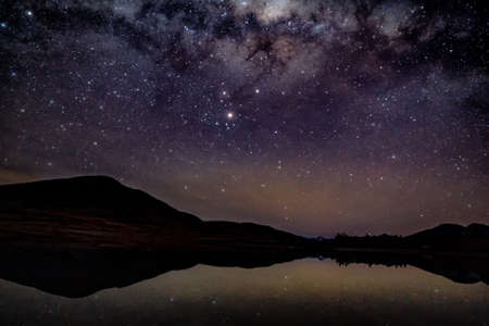 A galaxy of stars and the milky way reflected on a mountain lake with silhouetted hills in the background