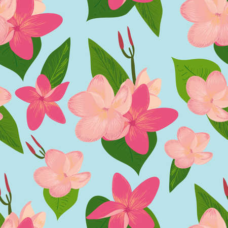 Seamless vector pattern retro styled, tropical flowers, plumeria