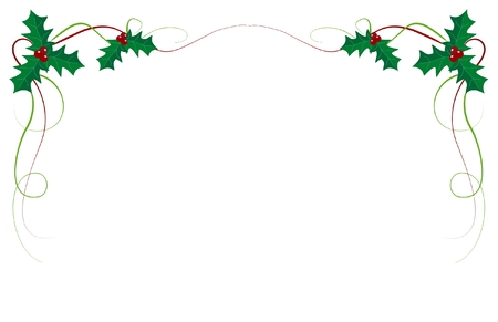 Christmas ivy border on white background