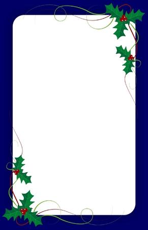 녹색 담쟁이와 파란색 테두리가 빈 크리스마스 초대 템플릿
