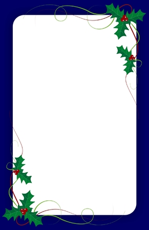 Blank Christmas invitation template with green ivy and blue border Ilustracja