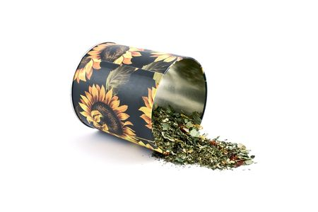 Black tin with sunflower print iolated photo