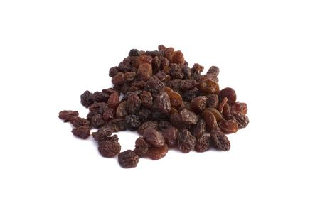 lot of raisins on a white background