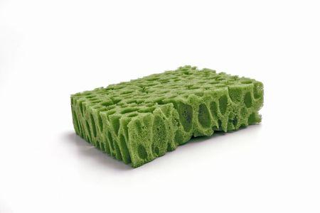 hygien: green sponge on a white background Stock Photo