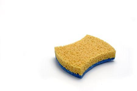 hygien: yellow sponge on a white background Stock Photo