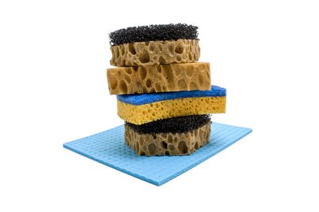hygien: sponge and rag on a white background Stock Photo
