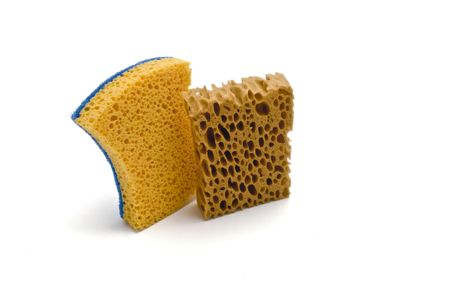 hygien: two isolated sponge and white background Stock Photo