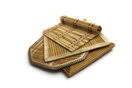 Bamboo and wood doily. Isolated photo