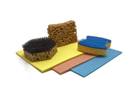 hygien: sponge and color rag on a white background