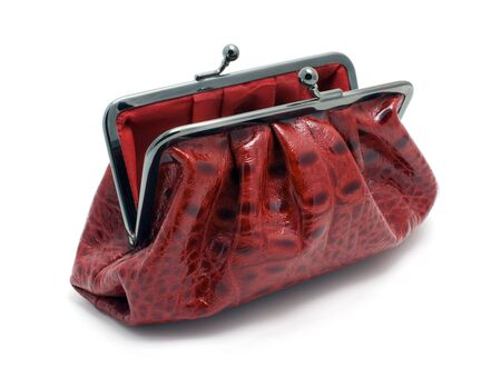 opened bag: opened red clutch bag Stock Photo