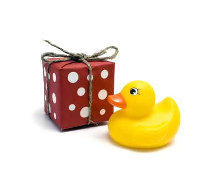 Plastic yellow duck toy and gift photo