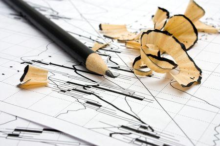 market trends: Stock market trends. Pencil and shaving.