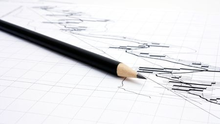 market trends: stock market trends and pencil Stock Photo
