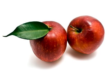 isilated: two red apple isilated Stock Photo