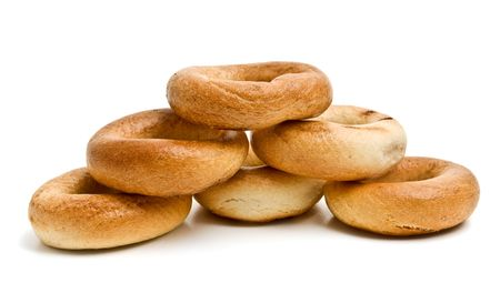 teacake: bread rings isolated Stock Photo