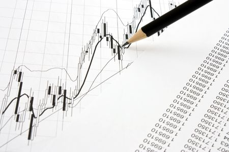 chart and pencil Stock Photo