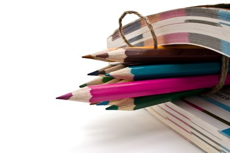 a literary sketch: book and pencils