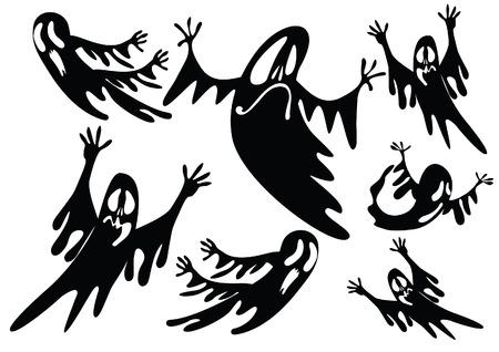 ghost face: fantasmi neri Vettoriali