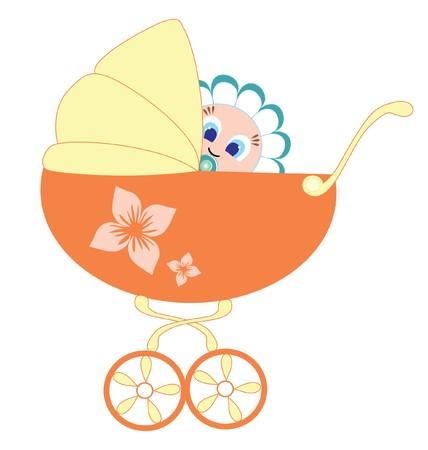 rammelaar: baby en pram Stock Illustratie