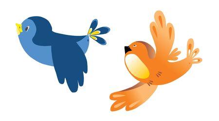 aves caricatura: Gorrión  Vectores