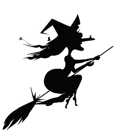 wicked witch: witch on a broomstick