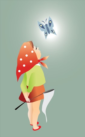 girl and butterfly Vector