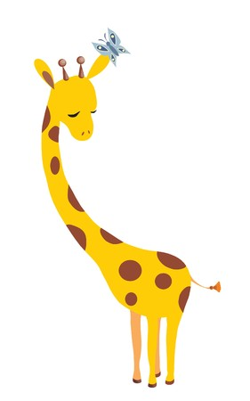 giraffe and butterfly Illustration