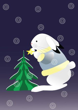 bunny and tree Vector