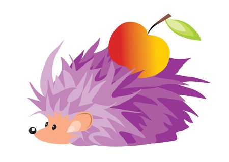 hedgehog and apple Stock Vector - 7925007