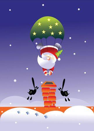 santa and parachute Stock Vector - 7925185