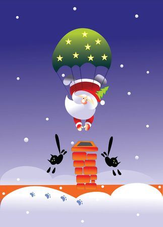 santa and parachute Vector