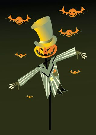 scarecrow and pumpkin background Vector