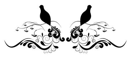 tatuaje de aves: tatuaje de flores y p�jaros
