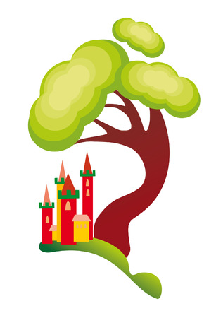 castle and tree Vector