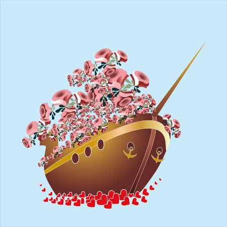 rose in boat Vector