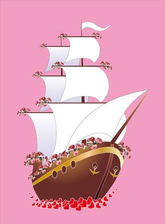 wedding yacht Vector