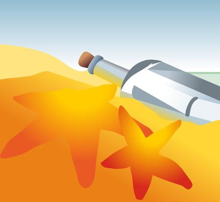 Empty bottle on the beach Illustration