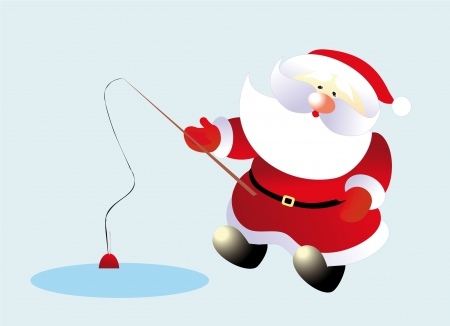 santa and fish Vector