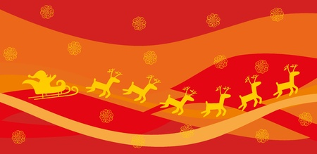 Santa and deer on red background Vector