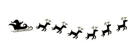 santa sleigh: black Santa and deer Illustration