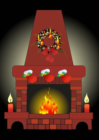 christmas fire Vector
