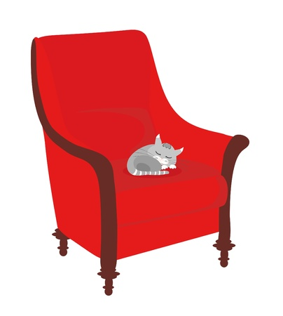 cat sleeps on sofa Vector