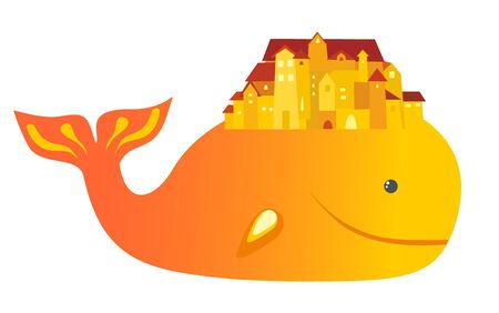 whale and houses Stock Vector - 8342463