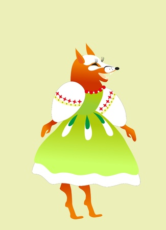 fox in cloth on green background Stock Vector - 8342548