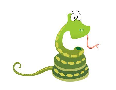 serpiente caricatura: Serpiente verde con una mayor ojo sobre fondo blanco