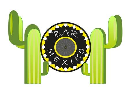 sombrero and two cactus. Bar mexico. Vector