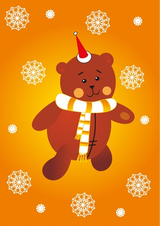 bear and snowflakes Vector